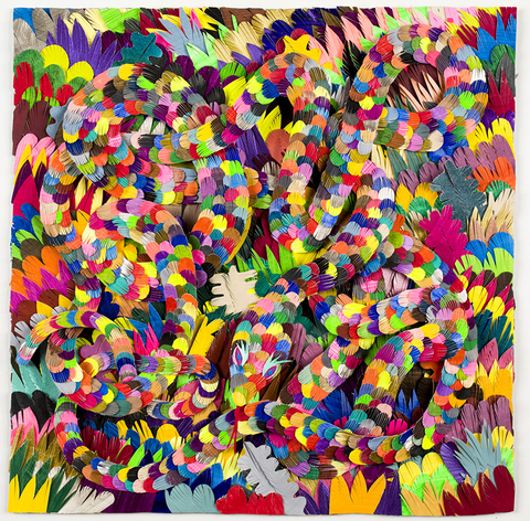 MICHAEL VELLIQUETTE Paper Serpents Paper, acrylic, ink, glue