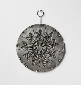 Venetia Dale works industrial mold cast in pewter, found key chain