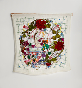 Venetia Dale works unfinished embroidery, collected and stitched
