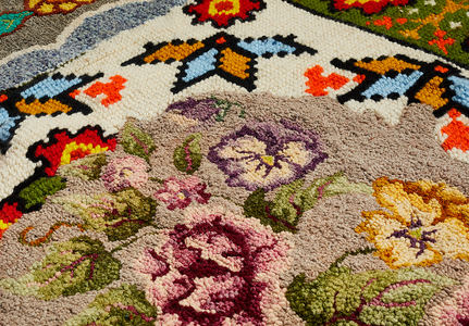 Venetia Dale works collected and stitched together unfinished hooked rugs