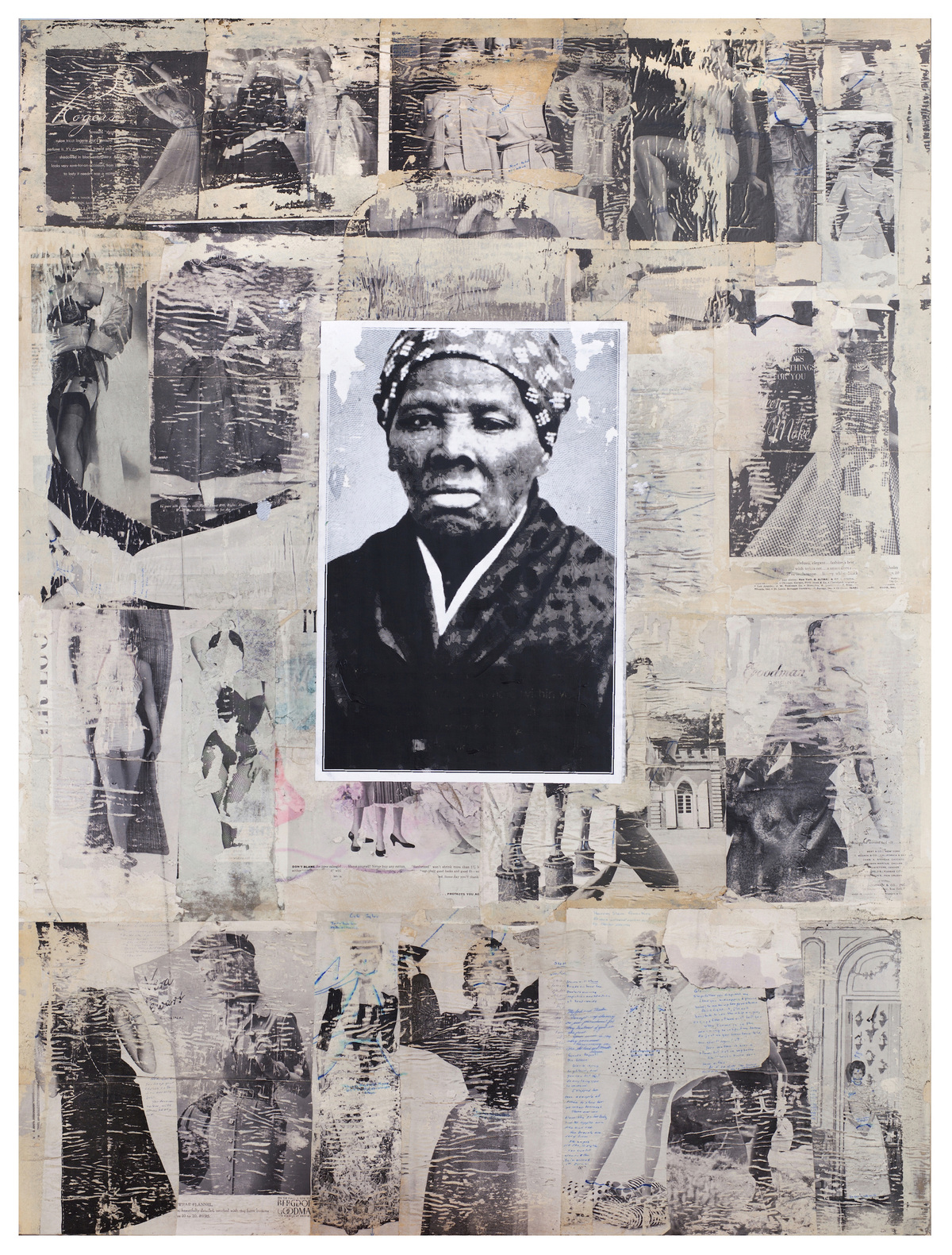 Victor Davson Misogyny Papers/Apology (Harriet's Gaze) acrylic medium, magazine and newspaper clippings, and image of Harriet Tubman on hardboard panel