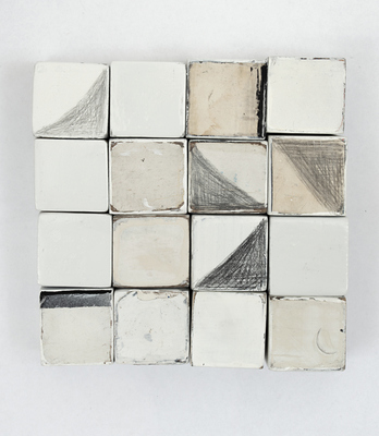 VICTORIA BURGE Objects acrylic, gesso, spray paint, pencil on found wood blocks