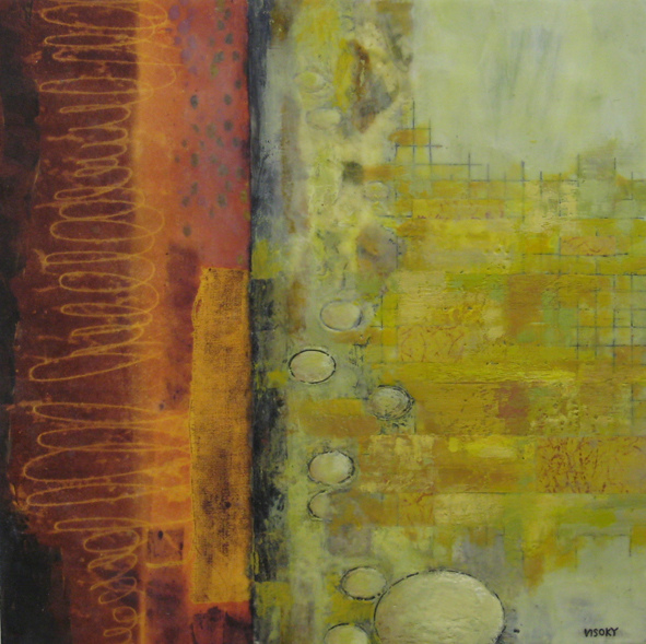 Mitchell Visoky Paintings Encaustic wax, monotype paper, oil stick on board