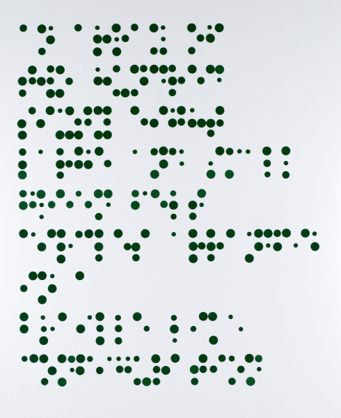 Braille Based Art See What I Say: An Array of Two Hundred Sixty Eight Large and  Small Green Felt Circles