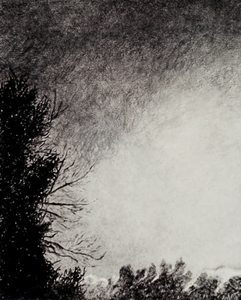 Willa Cox Clouds, Trees, and Rocks mixed media on paper