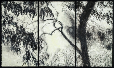 Willa Cox Peach Tree Shadows monotype on paper
