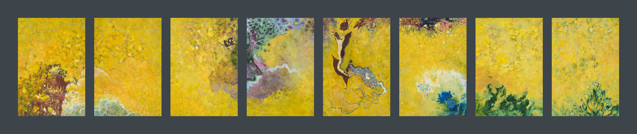 Willa Cox Nature-based Abstraction, Book Six Materials and processes include marbling, collage, gouache, and watercolor.