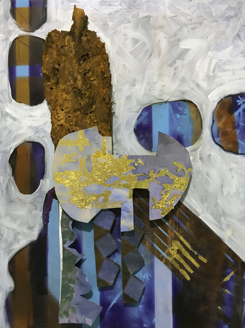Yura Adams  Reliefs oil, acrylic, gold leaf, and bark on aluminum and wood